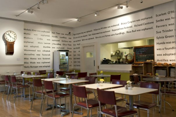 The Foundling Museum Cafe featuring Lemn's Sissay's mural 'Superman was a Foundling' (c) The Foundling Museum